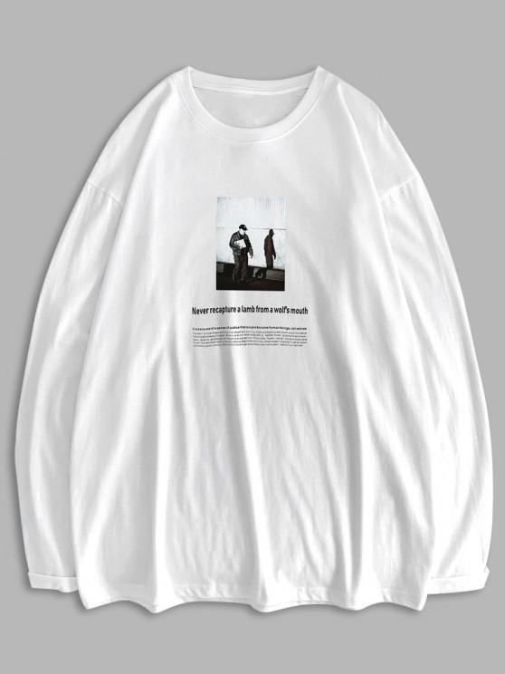 Camiseta Básica Manga Comprida com Texting Gráfico - Branco M