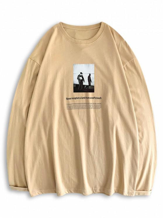 Long Sleeve Texting Graphic Basic T Shirt - ضوء الكاكي 2XL