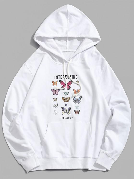 online Interesting Freedom Butterfly Graphic Hoodie - WHITE XS