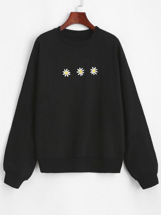 chic Crew Neck Daisy Embroidered Sweatshirt - BLACK XL