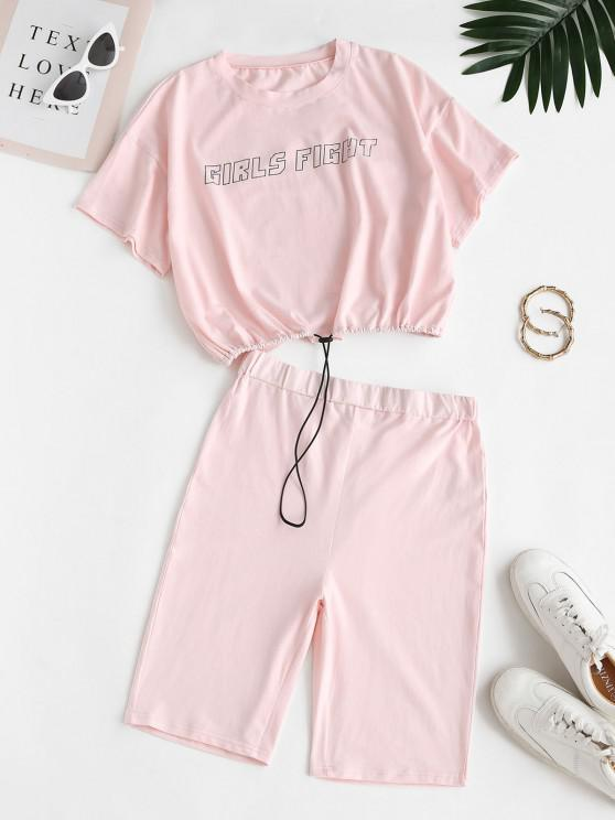 Girls Fight Graphic Tee and Biker Shorts Set - وردي فاتح M