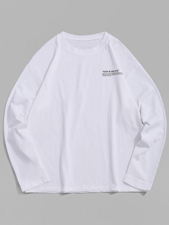 fancy Letter Print Crew Neck T Shirt - WHITE 4XL