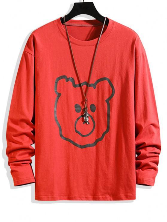 Animal Figure Print Basic T-shirt - أحمر L