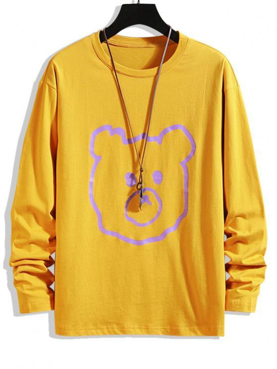 Tier Figur Druck Basic T-Shirt - Biene Gelb 4XL