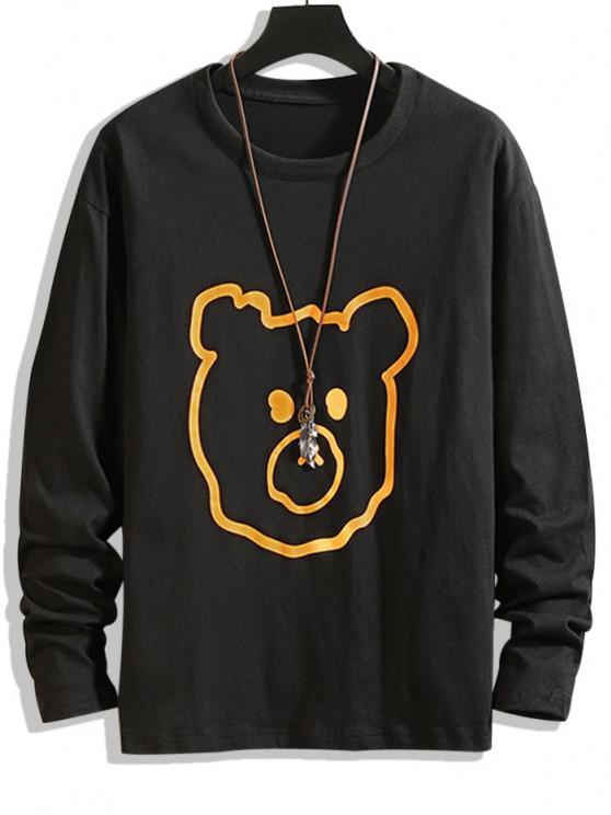 sale Animal Figure Print Basic T-shirt - BLACK L