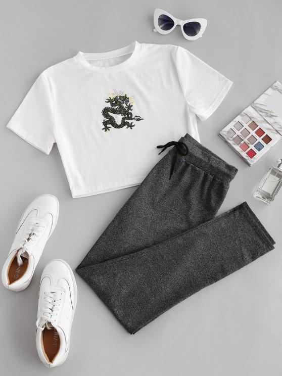 shops Dragon Print Oriental Marled Two Piece Pants Set - WHITE L
