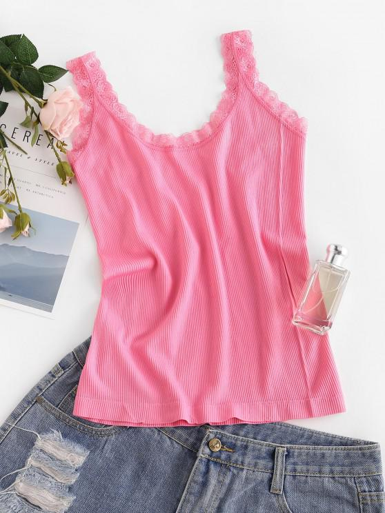 outfits Ribbed Lace Insert Plain Tank Top - LIGHT PINK M