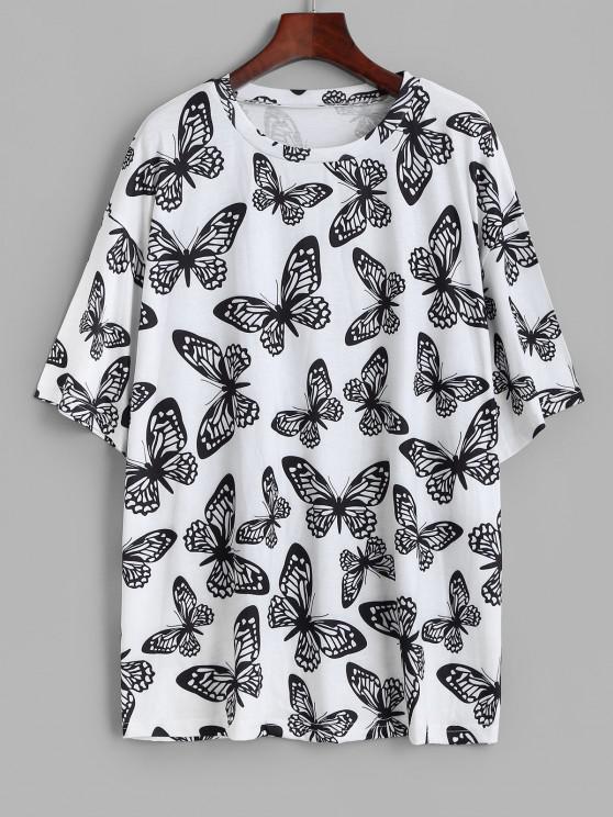 best Boyfriend Butterfly Print Oversized Tee - WHITE S