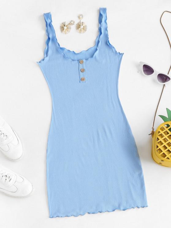 women's Lettuce-trim Ribbed Bodycon Tank Dress - LIGHT BLUE L