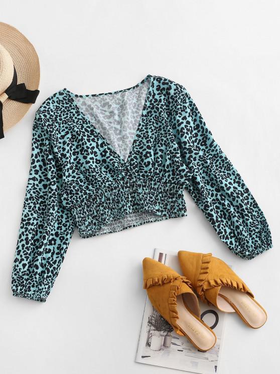 shop ZAFUL Leopard Smocked Waist Cropped Blouse - BLUE M