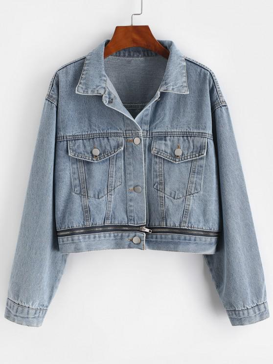 women Button Up Zippered Hem Denim Jacket - BLUE S