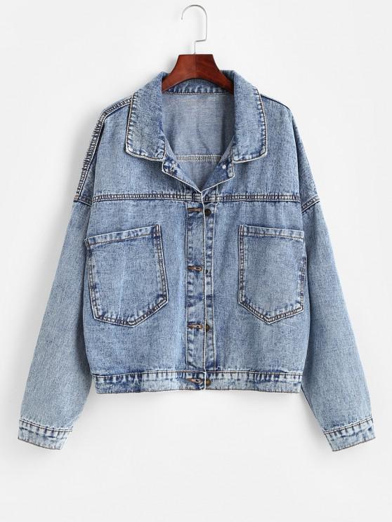 ladies Pockets Button Up Oversized Denim Jacket - BLUE S