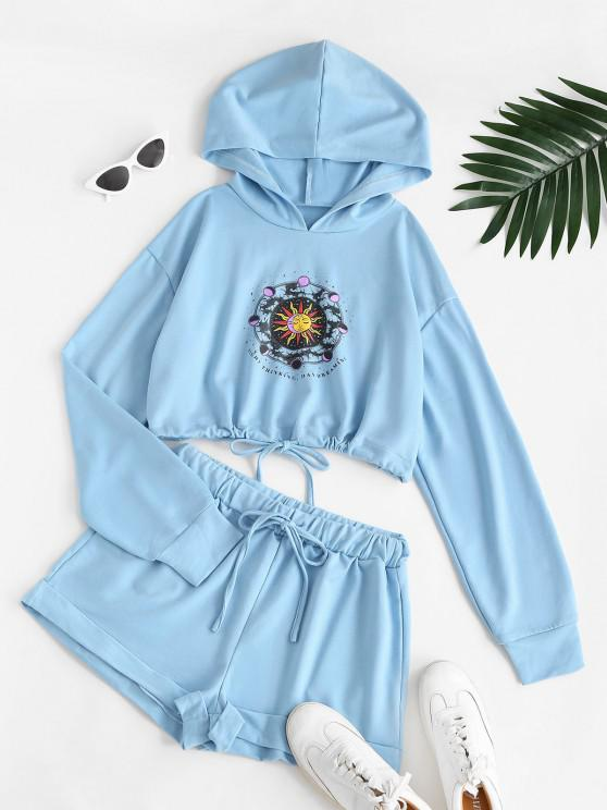 online Sun and Moon Print Hoodie and Sweat Shorts - LIGHT BLUE S