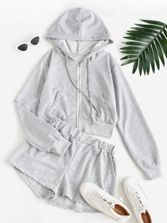 trendy Sweat Marled Zip Up Hoodie and Shorts Set - GRAY L