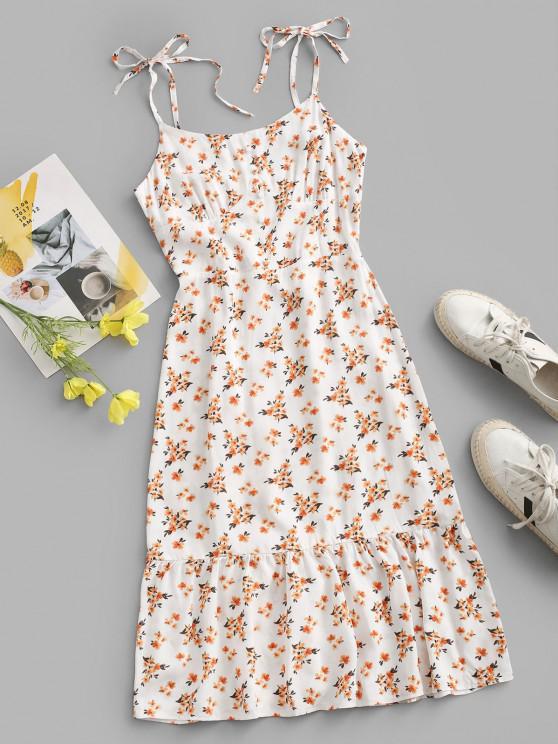 latest Tiny Floral Tie Shoulder Bustier Dress - WHITE M
