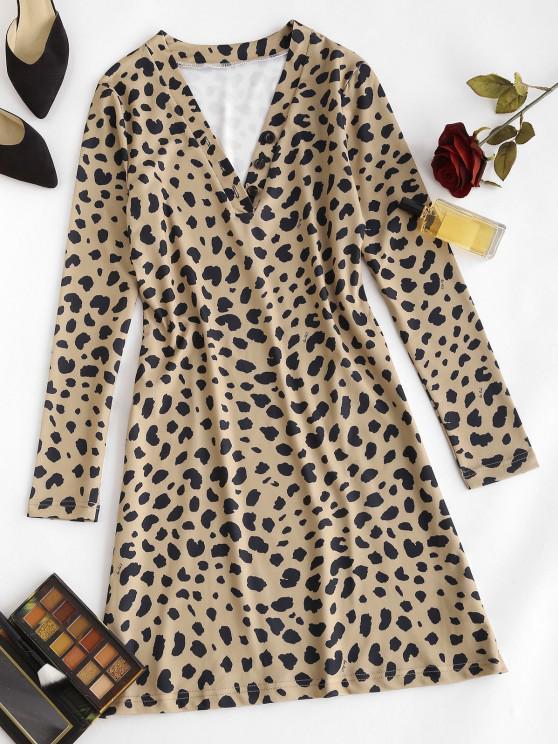 Leopard Animal Print Long Sleeve Tight Dress - قهوة M