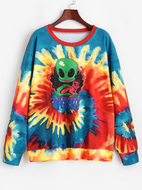 fashion Drop Shoulder Rainbow Tie Dye Alien Sweatshirt - MULTI M
