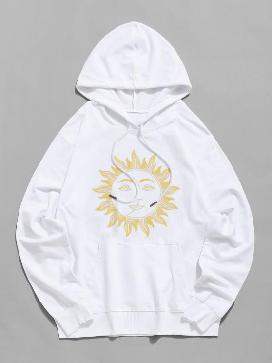womens Sun Face Graphic Drawstring Pouch Pocket Hoodie - WHITE L