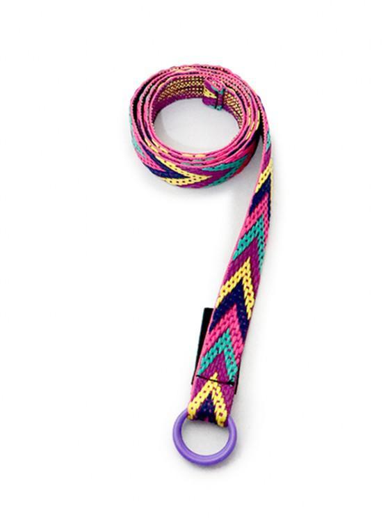 ladies Colorblock Double Rings Canvas Belt - MULTI-A