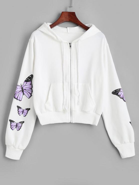Pockets Zip Up Butterfly Hoodie - أبيض S