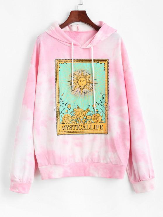 Moletom Floral de Sol do Cordão da Tintura do Laço - Luz rosa XL