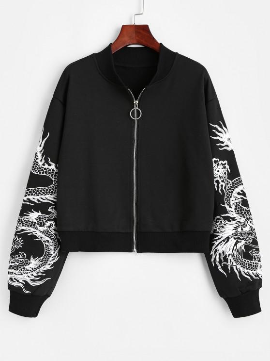 outfit Dragon Print Oriental Drop Shoulder Jacket - BLACK M