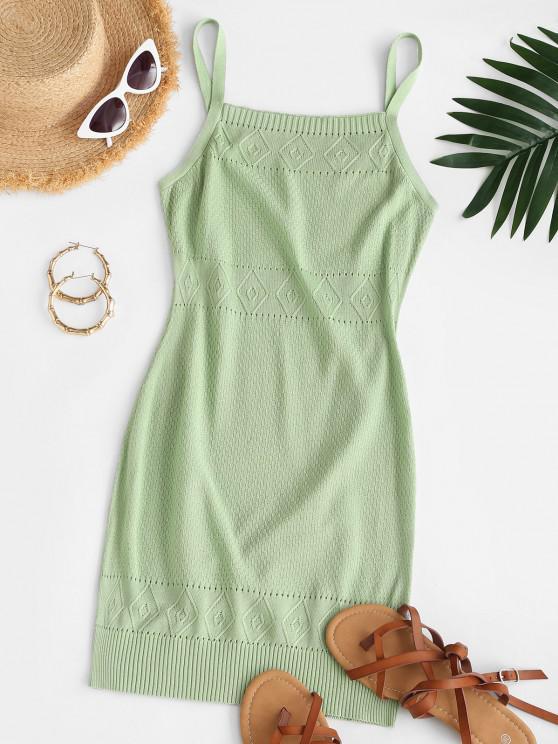 women Straps Pointelle Knit Sweater Dress - GREEN L