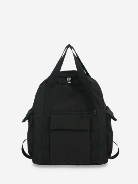 outfits Waterproof Solid Pocket Backpack - BLACK