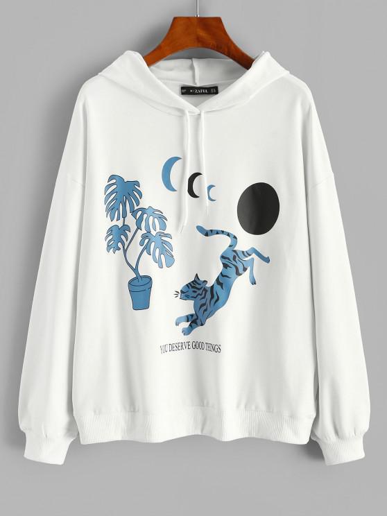 Oriental Tiger Moon Print Pullover Hoodie - أبيض S