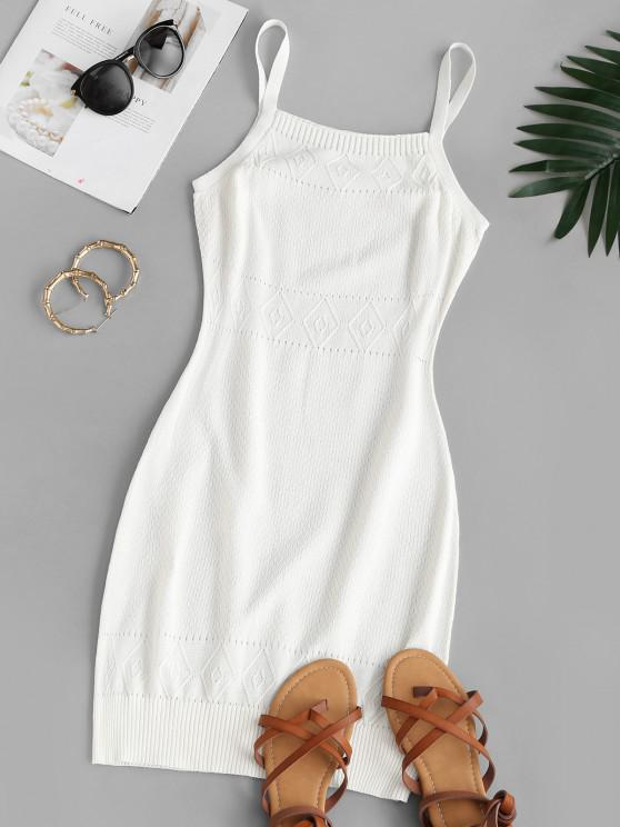 ladies Straps Pointelle Knit Sweater Dress - WHITE S