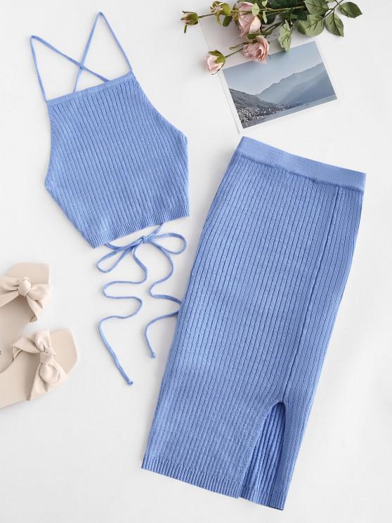 hot Open Back Crisscross Knitted Two Piece Dress - BLUE M
