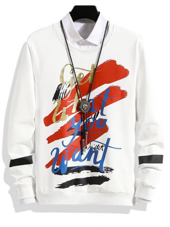 Sweatshirt Lettre Graphique Imprimée à Ourlet Côtelé - Blanc S