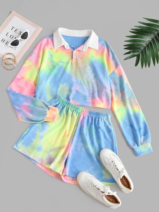 Top Corto di Tie-Dye con Mezzo Bottone - Multi Colori M