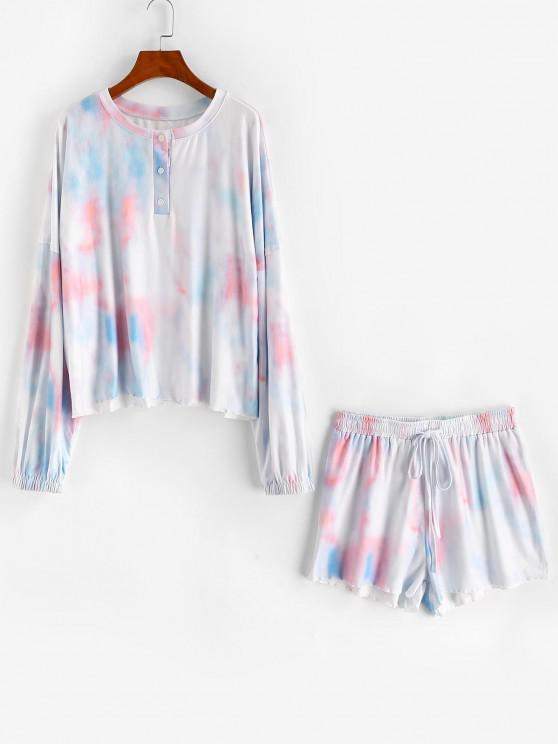 online Tie Dye Henley Drop Shoulder Drawstring Shorts Set - LIGHT BLUE M