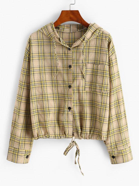 chic Plaid Hooded Drawstring Chest Pocket Jacket - DEEP YELLOW M