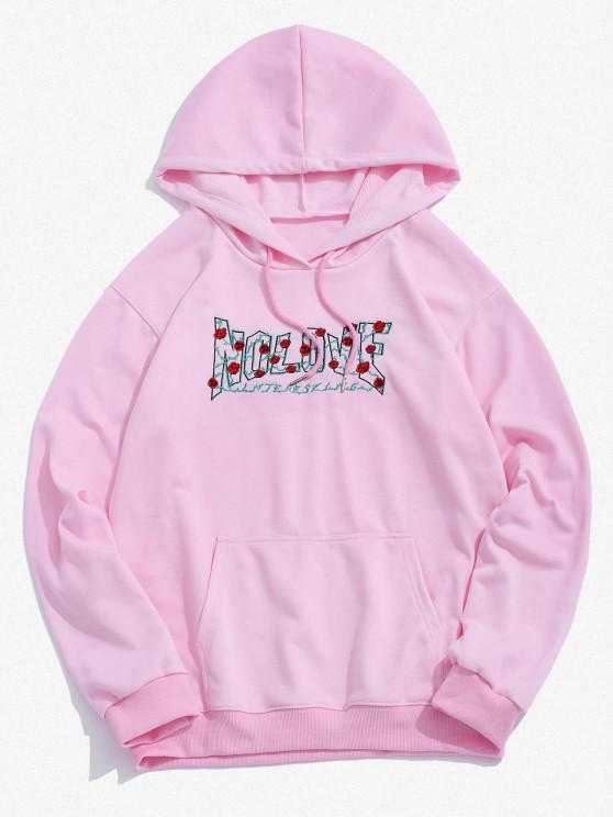 women Rose Letter Embroidery Graphic Hoodie - LIGHT PINK 2XL