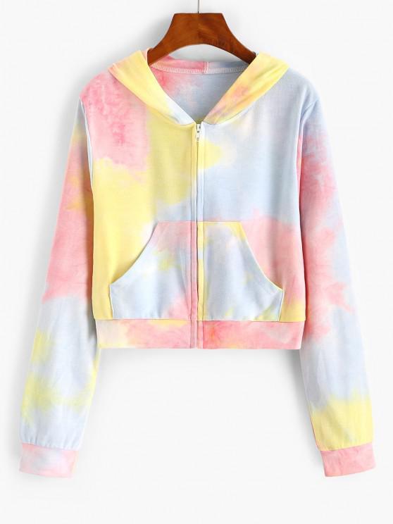 women ZAFUL Pockets Zip Up Tie Dye Hoodie - LIGHT PINK S