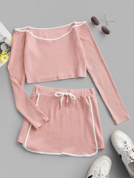 women ZAFUL Contrast Piping Ribbed Off Shoulder Two Piece Dress - LIGHT PINK M