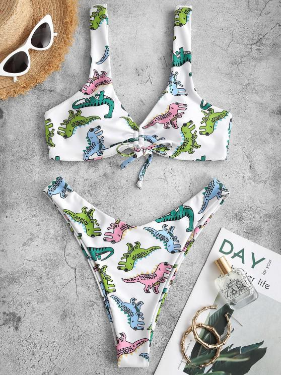 ZAFUL Cartoon Dinosaur Print Cinched Padded Bikini Swimwear - أبيض L