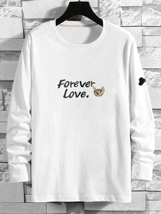 Forever Love Cartoon Dog Print T-shirt - أبيض XS