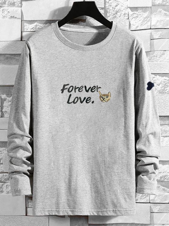 Forever Love Cartoon Dog Print T-shirt - اللون الرمادي XL