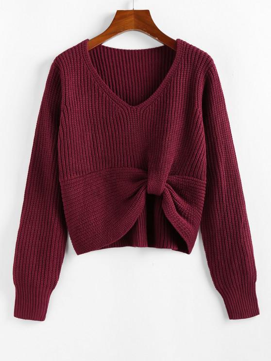 ZAFUL Twisted V Neck Jumper Sweater - أحمر عميق L