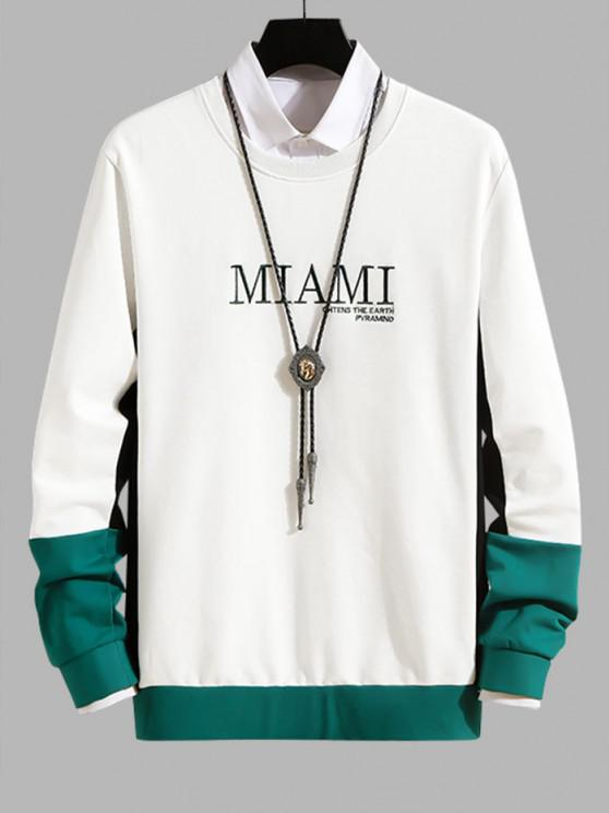 Letter Embroidery Colorblock Casual Sweatshirt - أبيض S