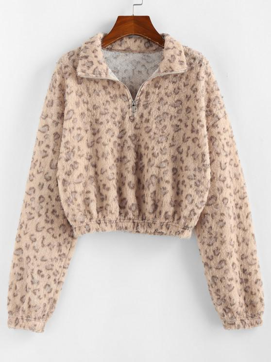 women ZAFUL Half Zip Leopard Print Short Sweatshirt - APRICOT M