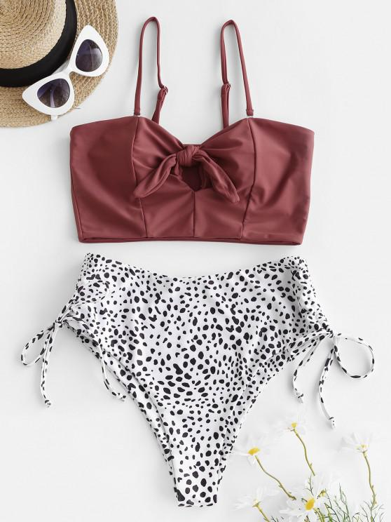 hot ZAFUL Leopard Tied Keyhole Cinched Tankini Swimwear - DEEP RED M