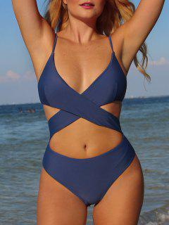 ZAFUL Wrap Bodice Cutout One-piece Swimsuit - Blue Koi S