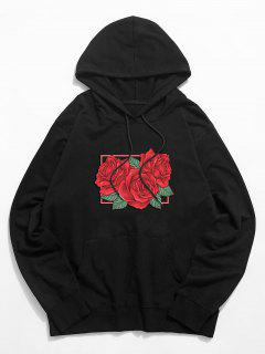 Rose Floral Graphic Drawstring Pouch Pocket Hoodie - Black S