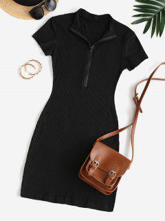 Half Zip Ribbed Bodycon Dress - Black M