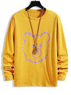 Animal Figure Print Basic T-shirt - Bee Yellow 4xl