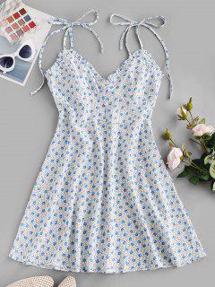 Ditsy Floral Tie Cami Frilled Summer Dress - Light Blue L